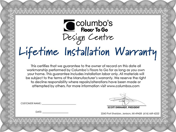 Lifetime Installation Warranty certificate